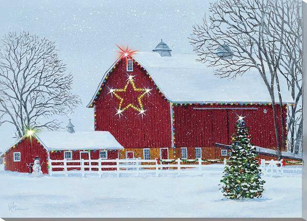 Deck The Barn Lighted Wrapped Canvas