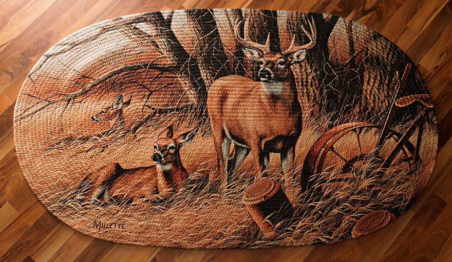 Whitetail Deer Braided Area Rug