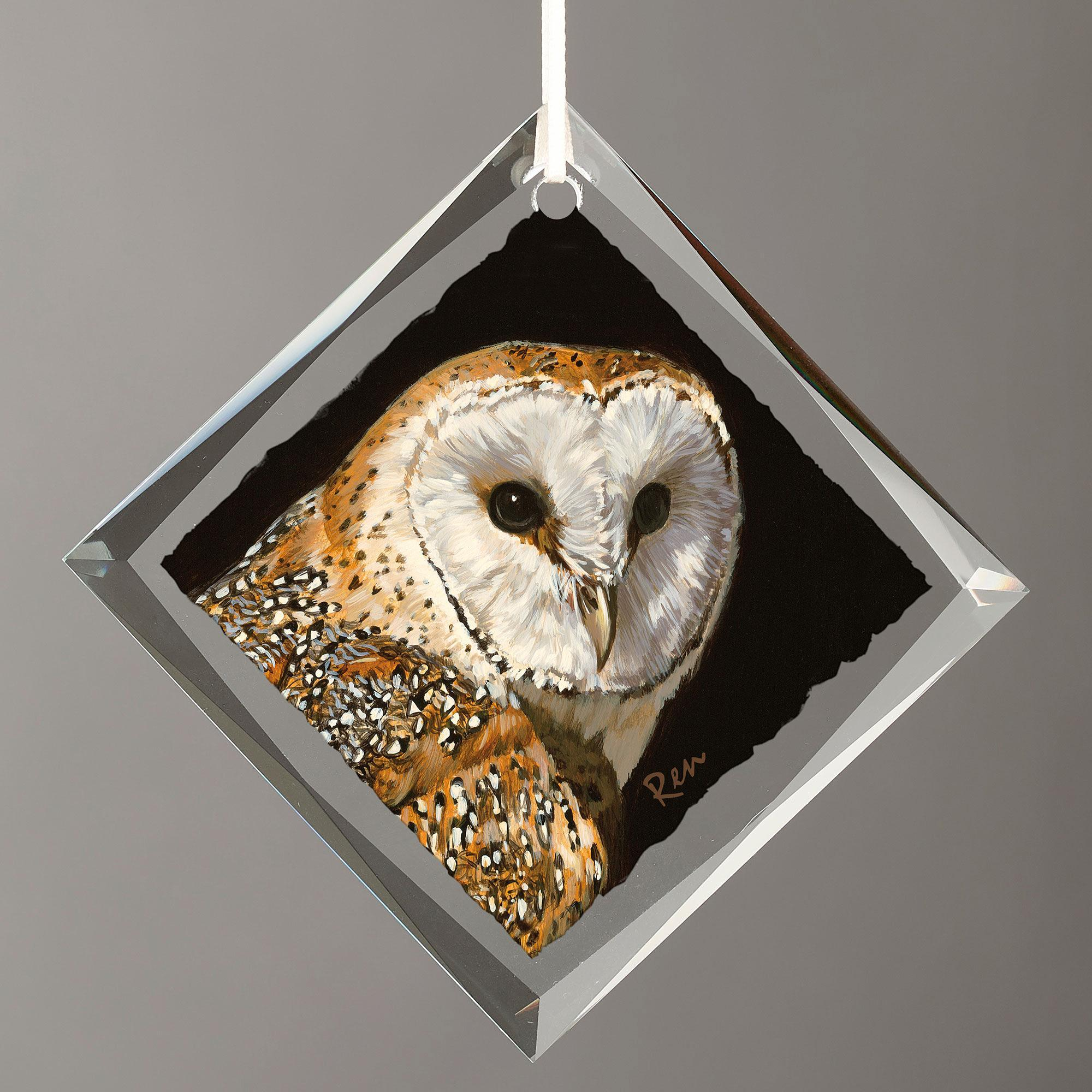 Barn Owl Diamond-Shape Glass Ornament
