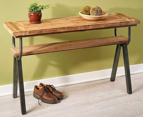 Reclaimed Pine And Forged Iron Console Table