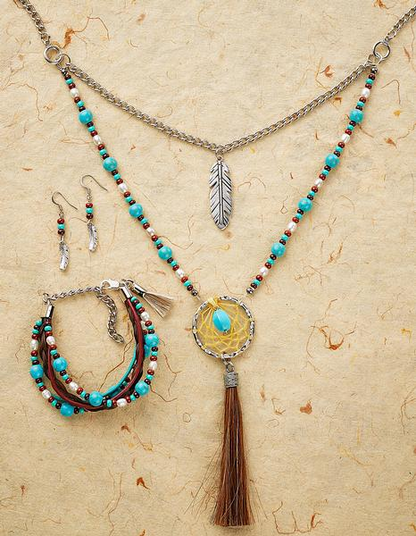 Dream Catcher and Feather Necklace