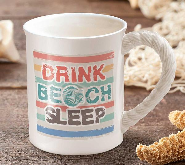 Drink Beach Sleep Sculpted Mug