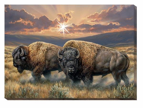 Dusty Plains—bison Lighted Wrapped Canvas