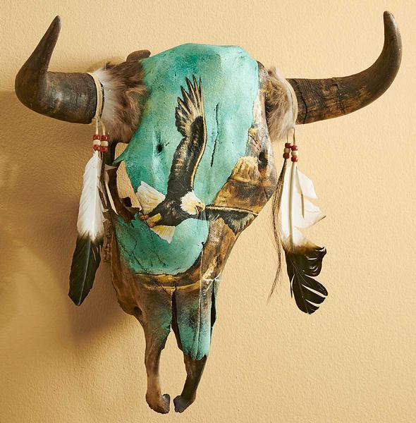 Eagle Design Cow Skull