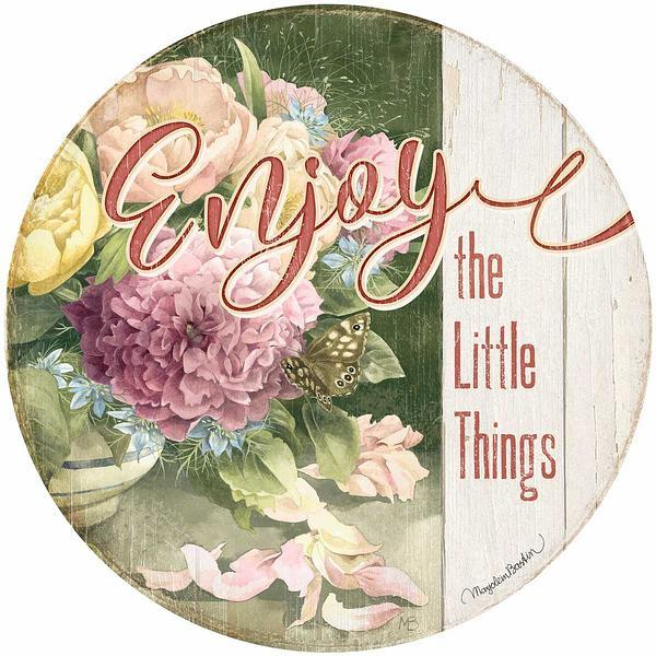 <I>Enjoy The Little Things</i> 21 Round Wood Sign