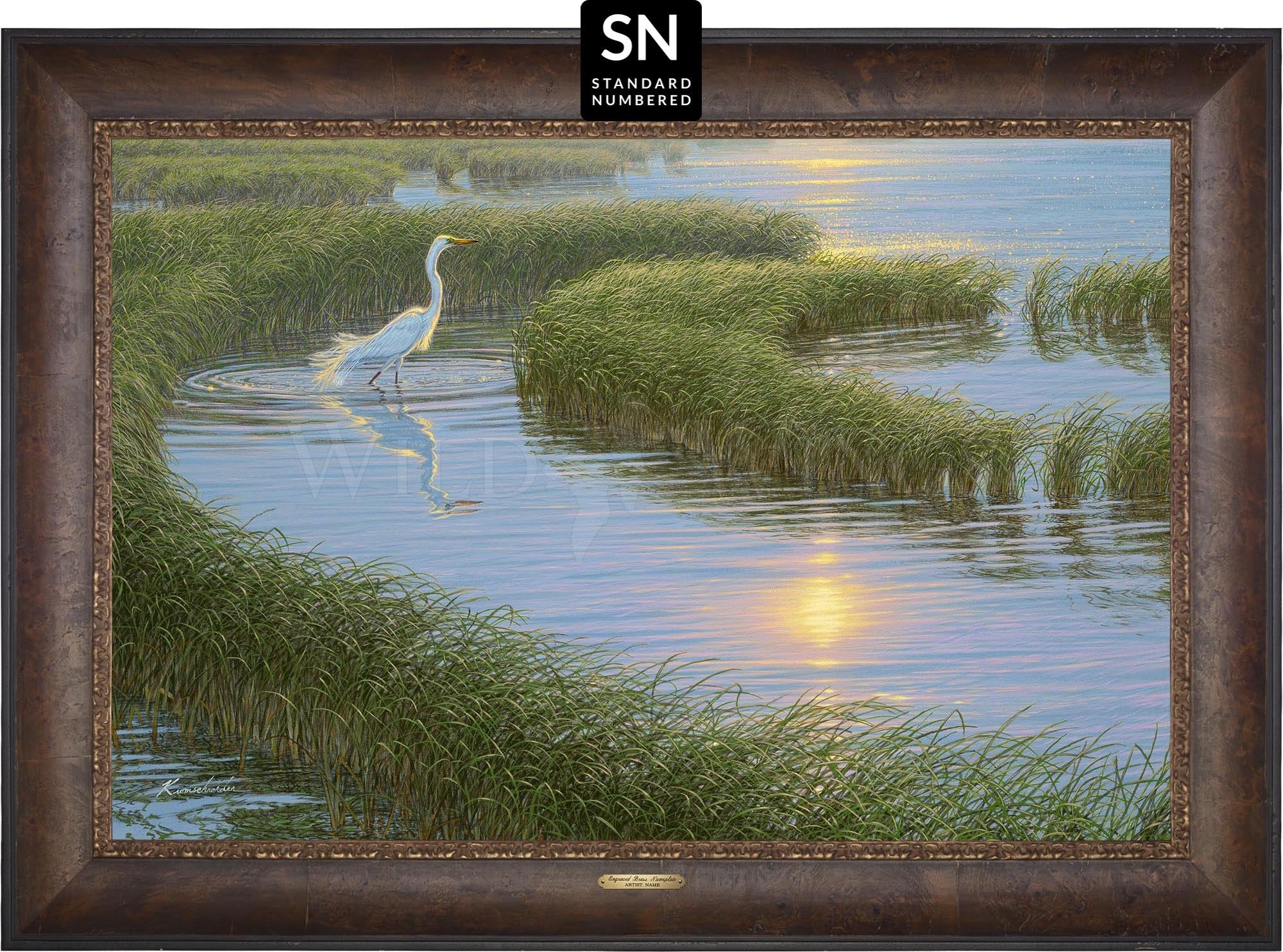 Evening Solitude—White Egret;  Master Artisan Collection — Standard Numbered Edition (SN).