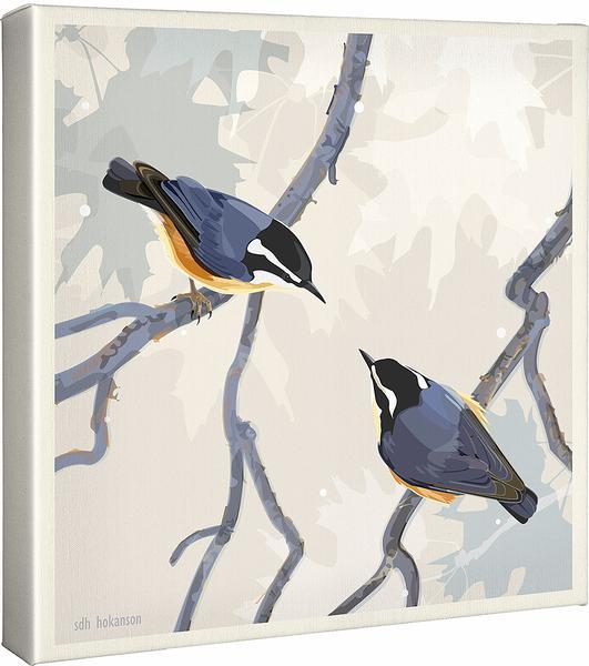 <I>Red-Breasted Nuthatches</i> Gallery Wrapped Canvas