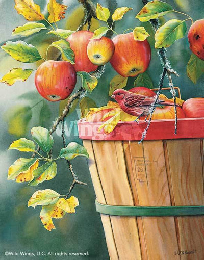 <i>Fall Apple Harvest&mdash;Purple Finch</i>