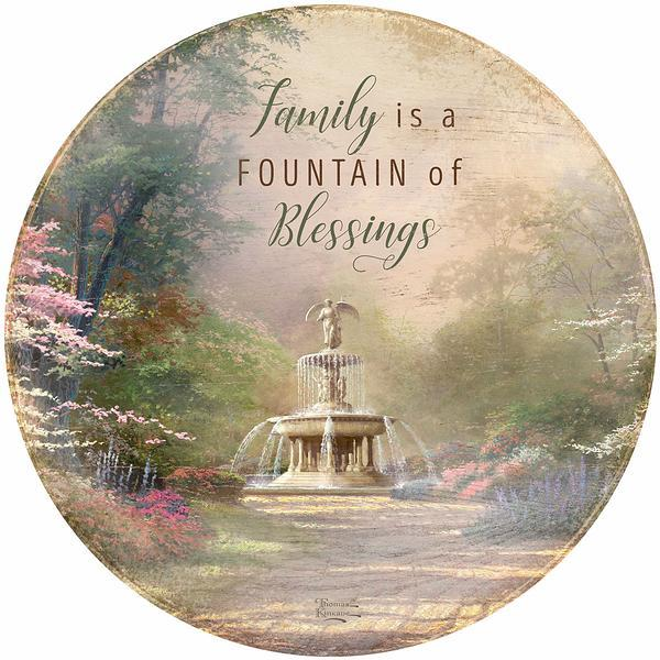 <I>Fountain Of Blessings</i> 21 Round Wood Sign
