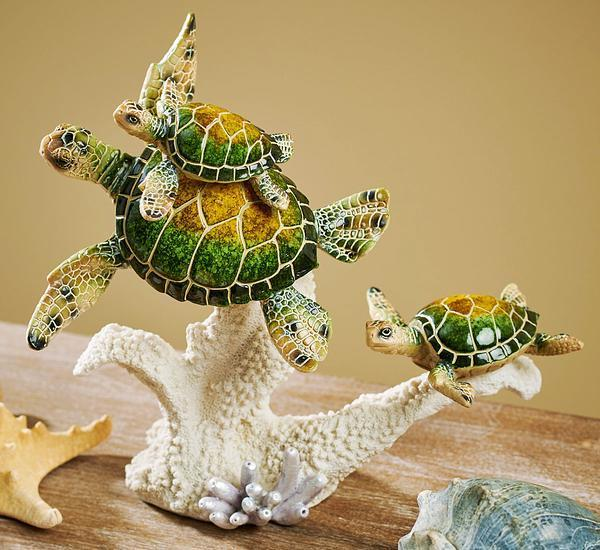 Green Sea Turtle Family Sculpture