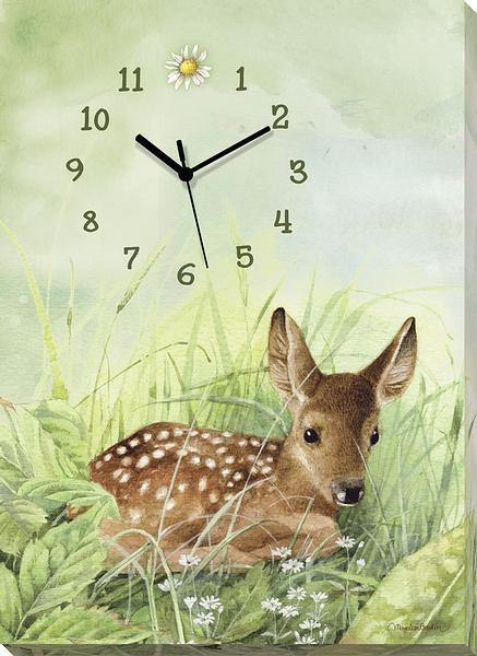 <I>Waiting For Mom&mdash;fawn</i> Canvas Clock