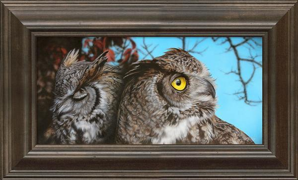 <I>Sorry Am I Boring You&mdash;great Horned Owls</i> Framed Limited Edition Canvas<Br/>12.25H X