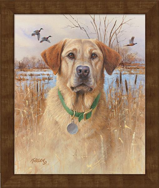 <I>Top Dog&mdash;yellow Lab</i> Personalized Framed Canvas