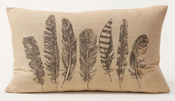 Burlap Feather Lumbar Pillow