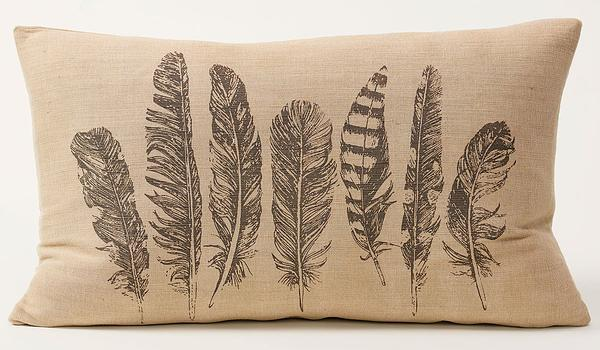 Feathers Burlap Pillow
