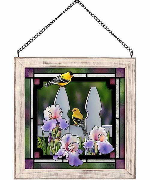 <I>Picket Fence&mdash;goldfinches</i> Stained Glass Art