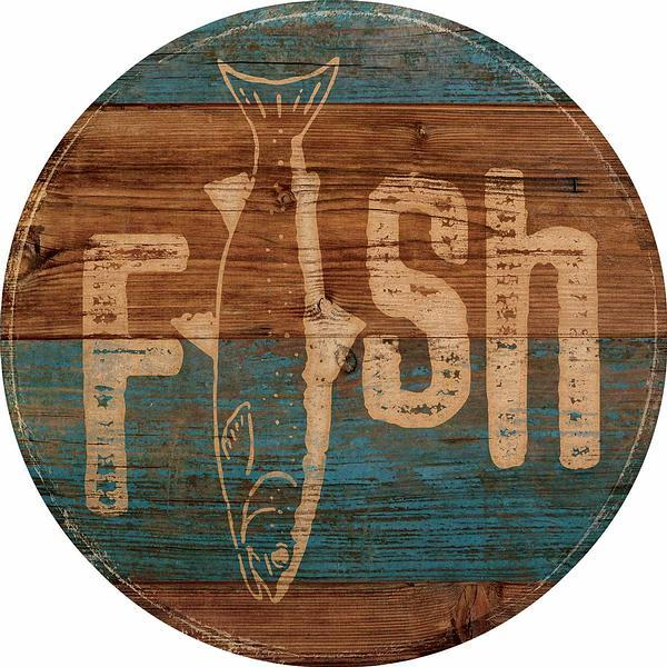 Fish 12 Round Wood Sign
