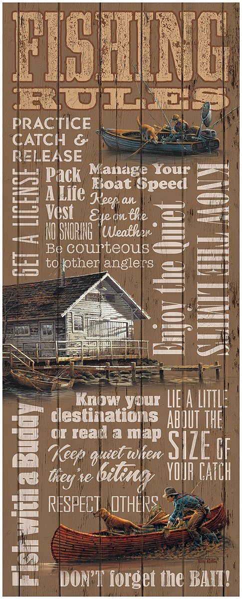 <I>Fishing Rules</i> 12 X 30 Wood Sign