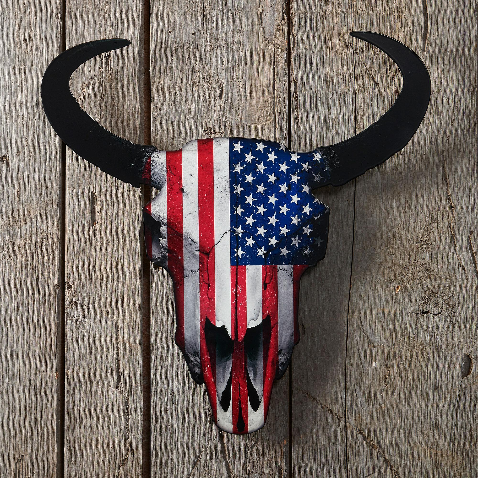 Flag Bison Skull Metal Wall Art