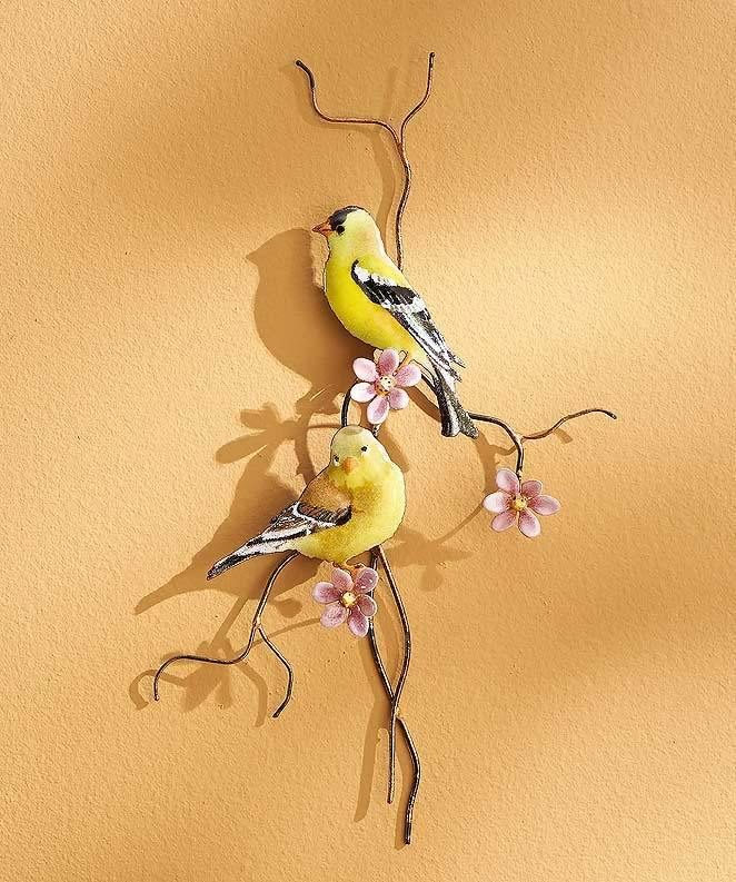 Goldfinches Enamel Wall Art