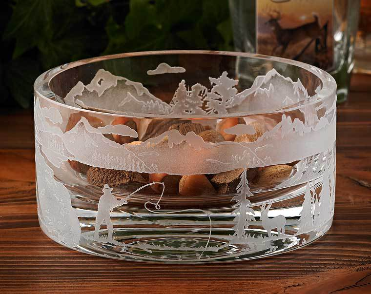 Fly Fishing Etched Crystal Bowl