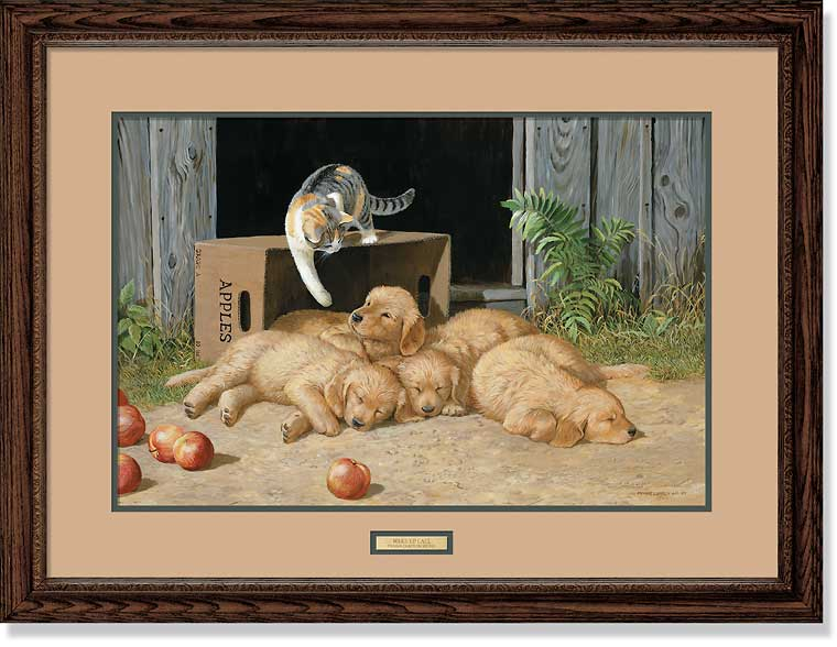 The Wake Up Call-Cat & Puppies Art Collection