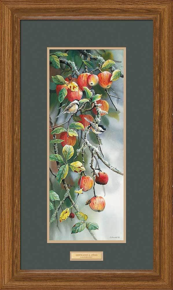 <I>Chickadees & Apples</i> Framed Limited Edition Print<Br/>29.25H X 17.5W Art Collection