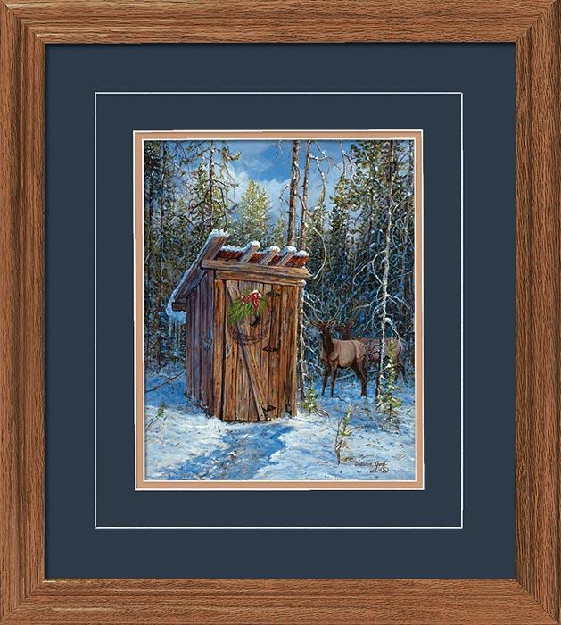 Greetings From Our House To Yours—elk Gna Deluxe Framed Print