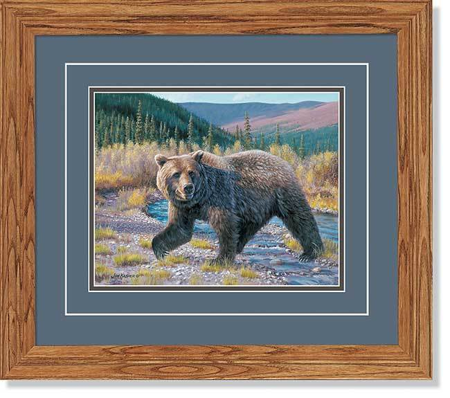 Griz Crossing—grizzly Bear Gna Deluxe Framed Print