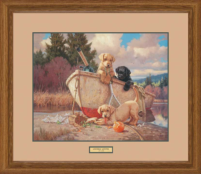 Lunch Break-Yellow Lab Puppies Art Collection
