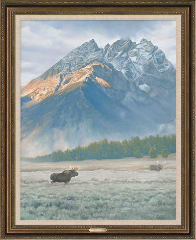 Near the Base of Mountain-Moose Art Collection