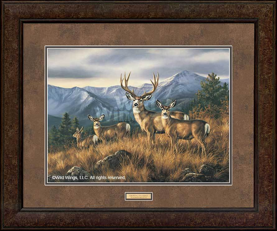 <I>Crossing The Ridge&mdash;mule Deer</i> Gna Premium+ Framed Print<Br/>29H X 35W Art Collection