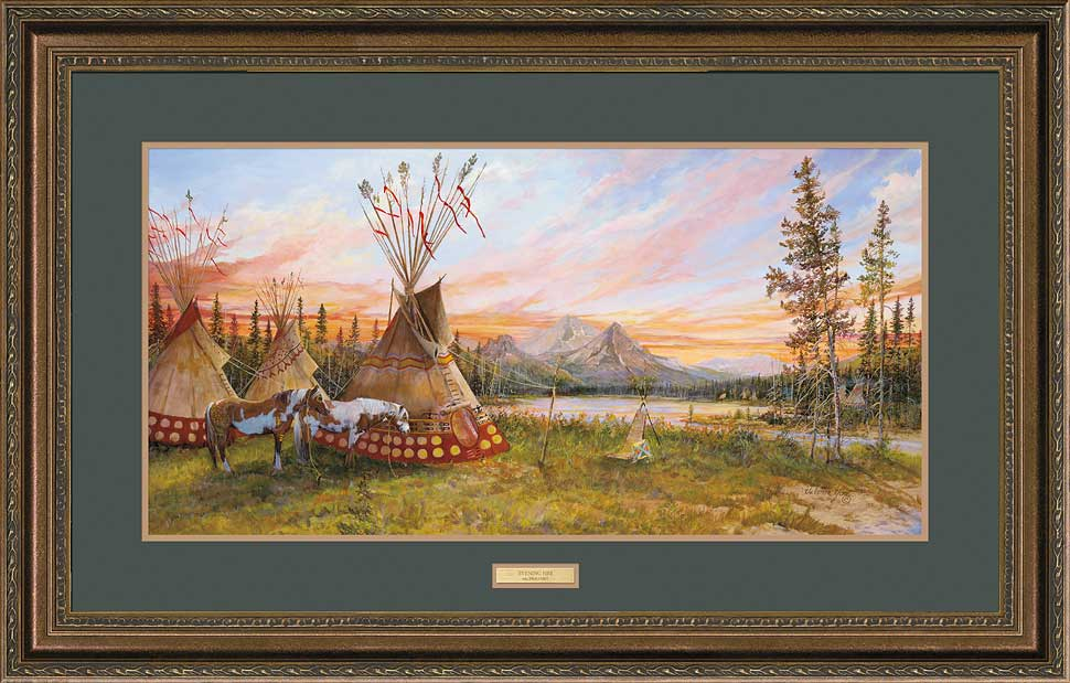 <i>Evening Fire&mdash;Indian Village</i>