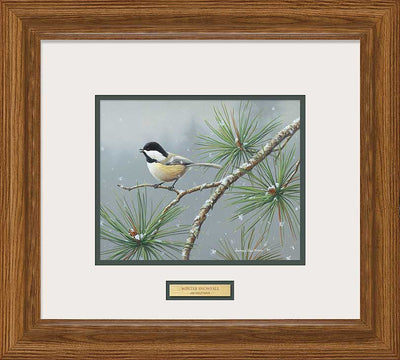 Winter Snowfall-Chickadee Art Collection