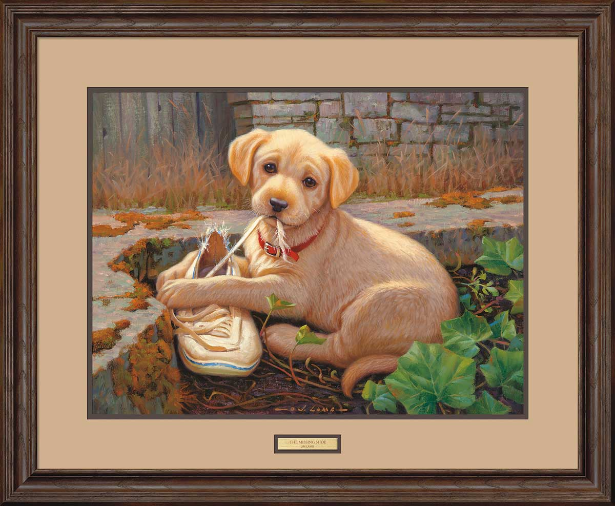 The Missing Shoe-Yellow Lab Puppy Art Collection