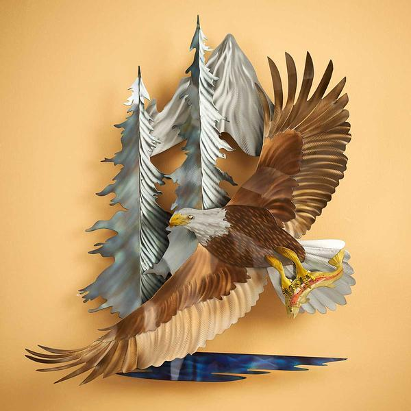 Soaring Bald Eagle Metal Wall Art