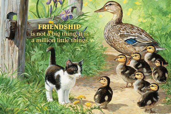 <I>Friendship&mdash;ducks And Kitten</i> 12 X 18 Wood Sign