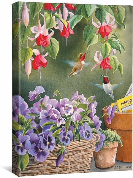 <I>Garden Delight&mdash;hummingbirds</i> Gallery Wrapped Canvas