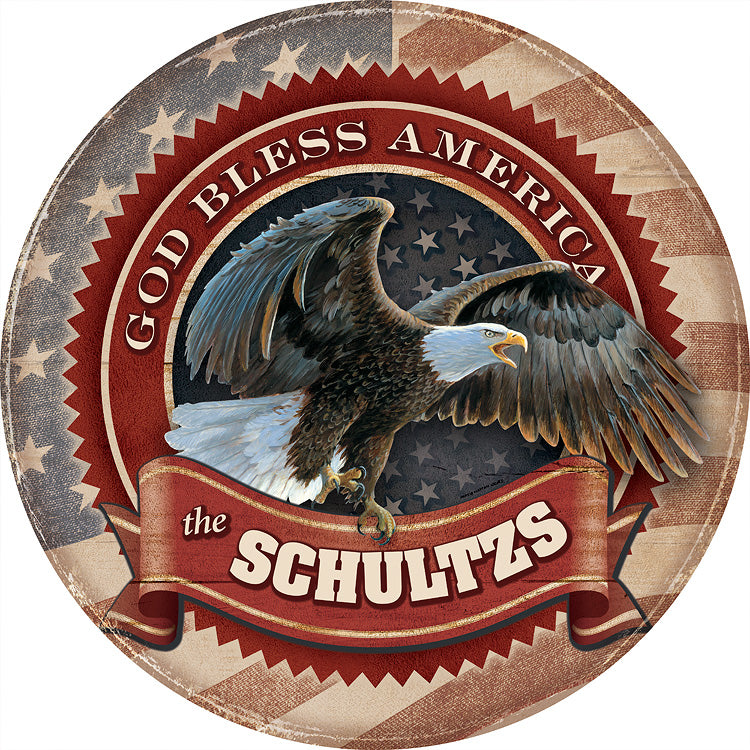 "God Bless America-Bald Eagle Personalized 21"" Round Wood Sign"