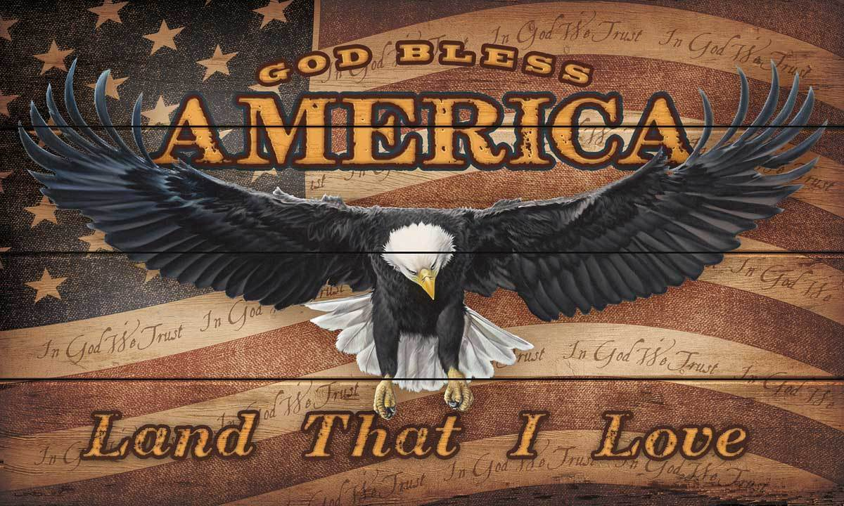 <I>God Bless America</i> 18 X 30 Wood Sign