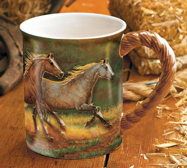 <I>Gold Dust&mdash;horses</i> Sculpted Mug