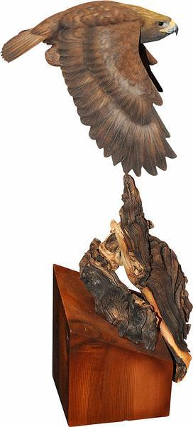 <I>Golden Eagle In Flight</i> Original Wood Carving
