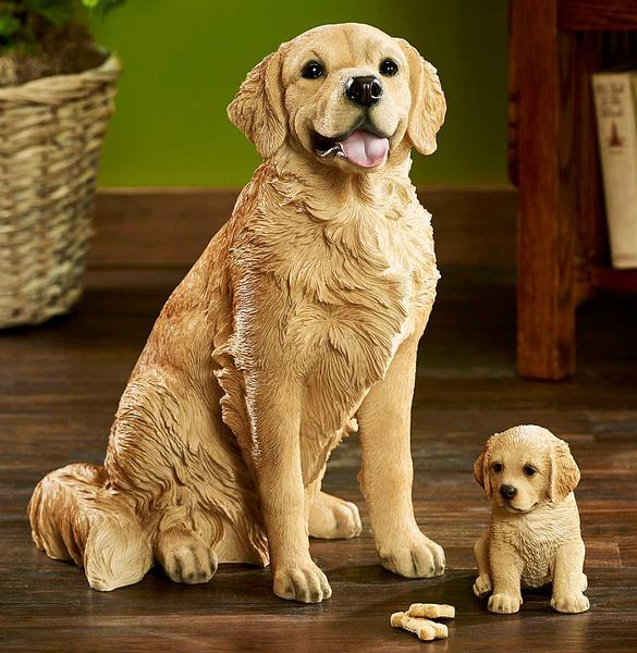 Lifelike Dog & Puppy Golden Retriever.