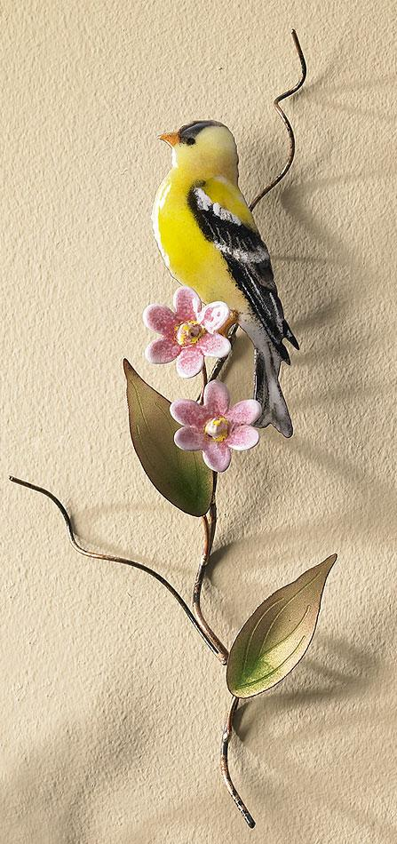 Goldfinch Enamel Wall Art