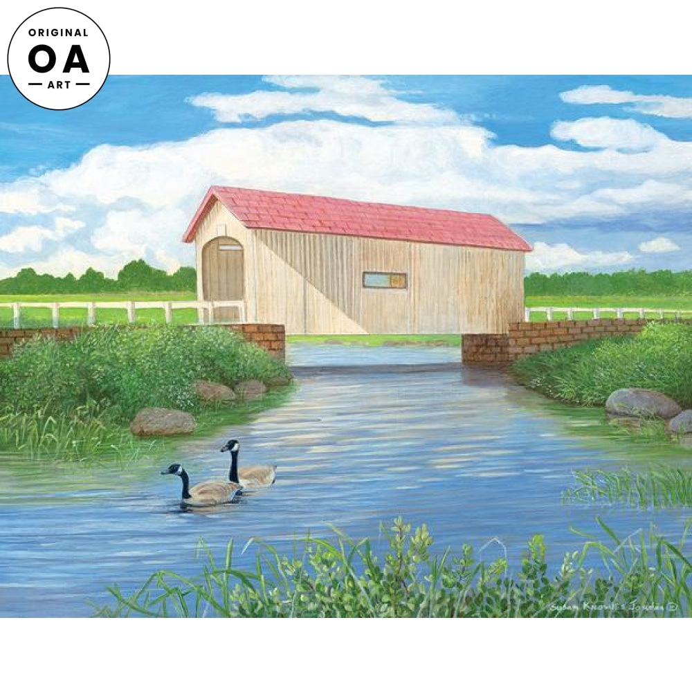 <i>Good Pasture&mdash;Covered Bridge & Geese</i> Original Artwork