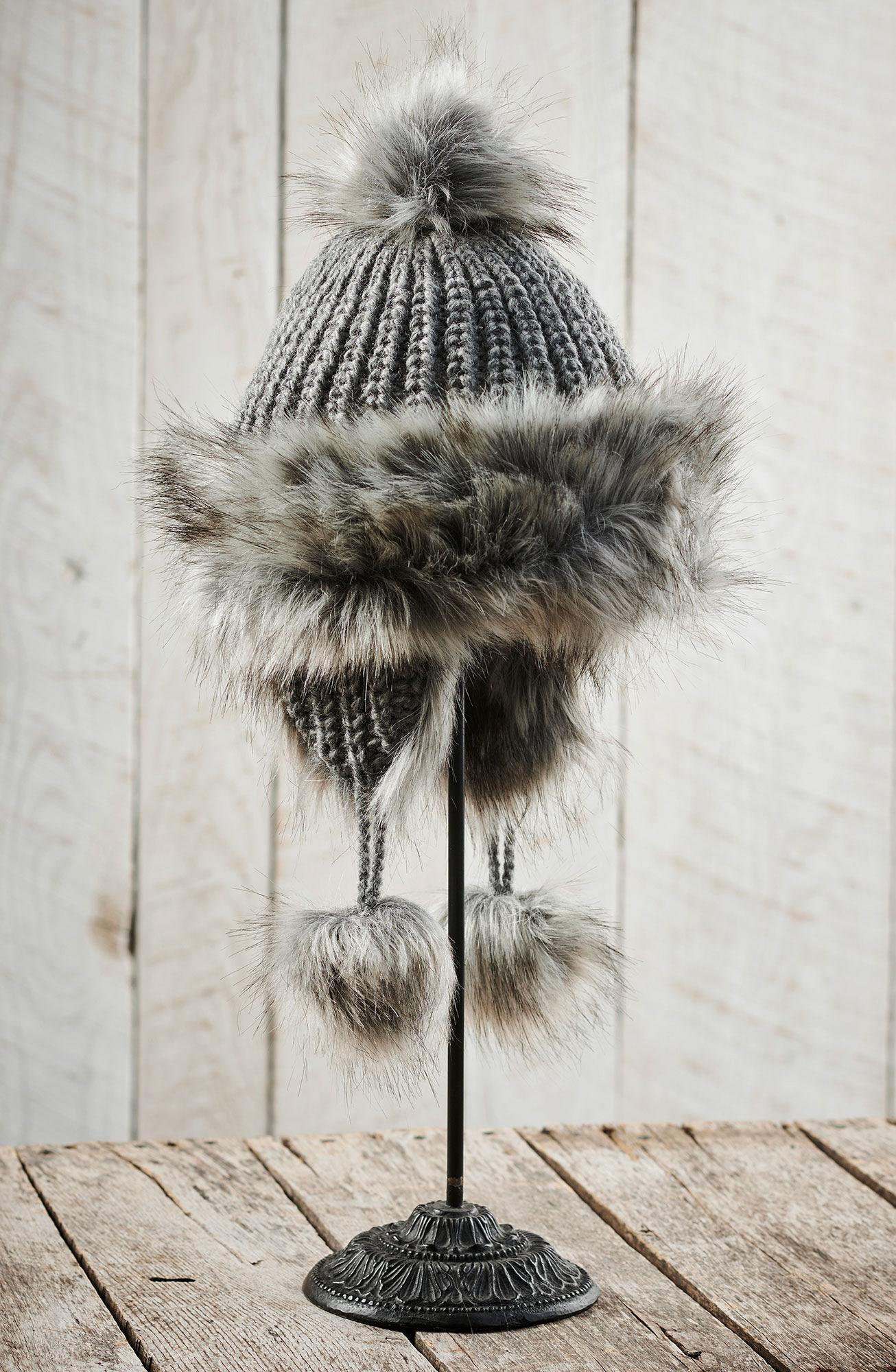 Gray New Zealand Wool Bomber Hat