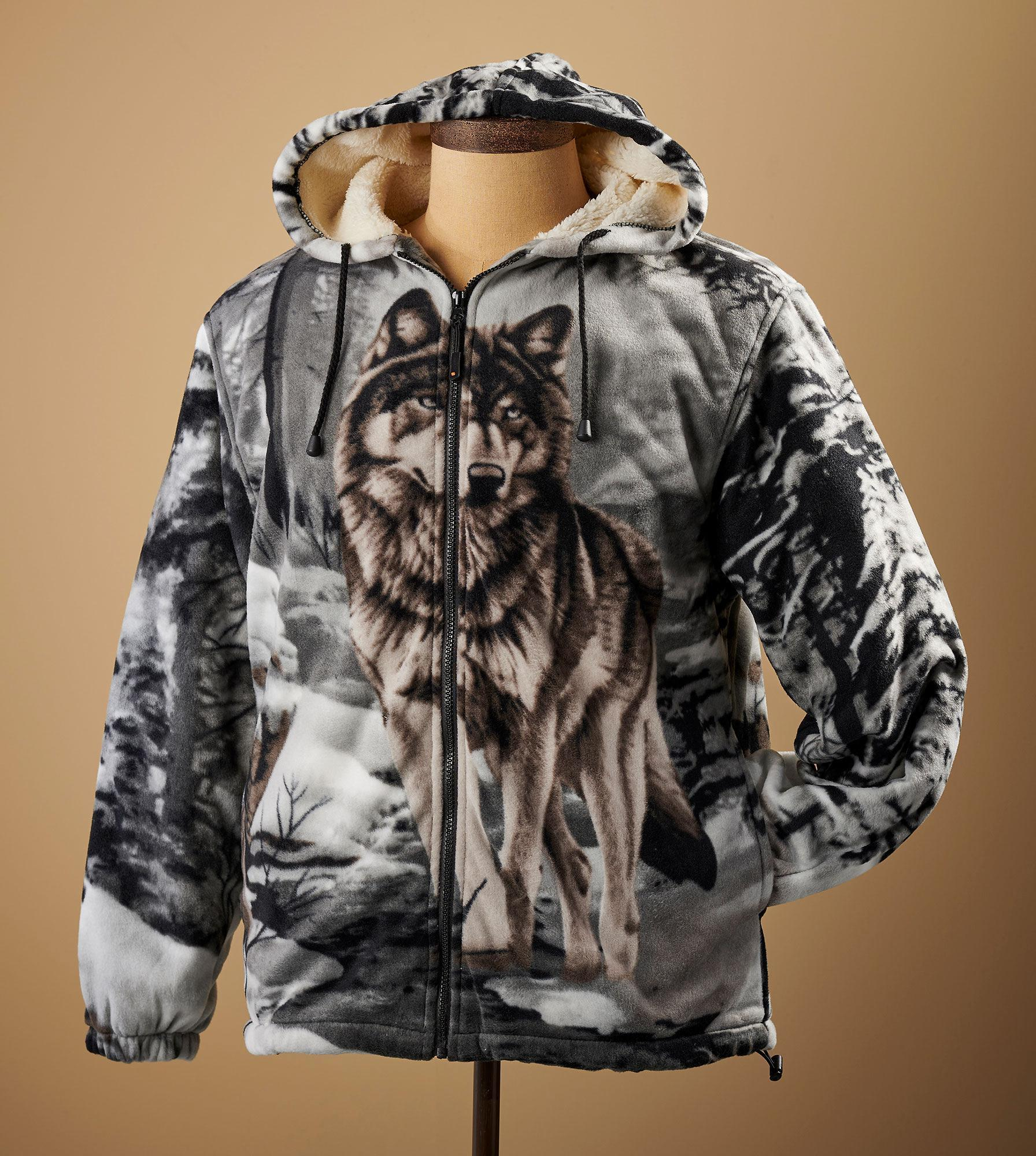 Gray Wolf Plush Hooded Jacket