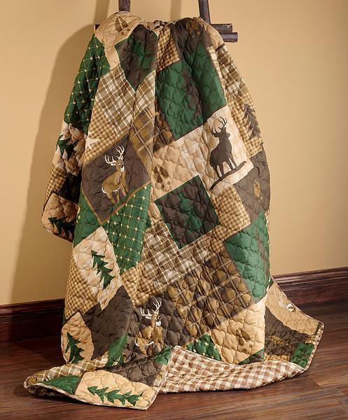 Whitetail Forest Patch Throw Blanket