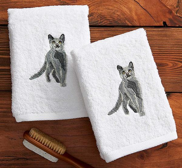 Gray Cat Hand Towels
