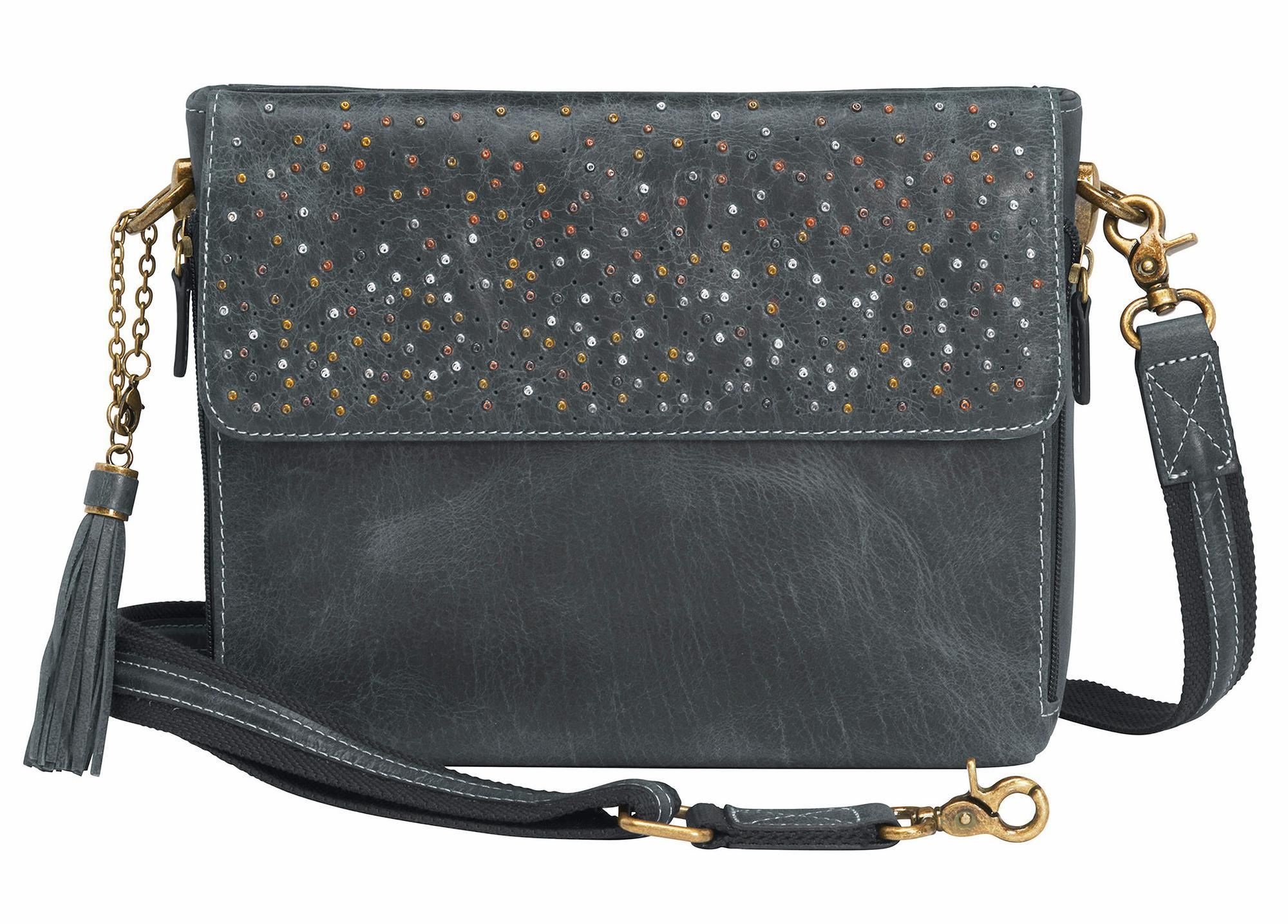Leather Shoulder Clutch—Gray.